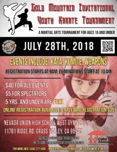 2018 Gold Mountain Invitational Youth Karate Tournament Results